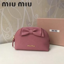MIUMIU 5ND009-2 輕便實用蝴蝶結粉色原版馬德拉斯山羊皮大號收納包化妝包