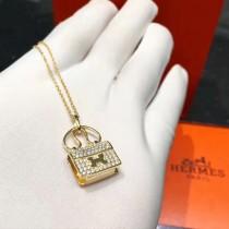 HERMES 飾品-045-3 喜哥同款經典凱莉原版愛馬仕包包925純銀鍍金鑲鑽黃金項鏈