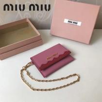 MIUMIU 5ML010 里外進口平紋牛皮可拆卸金屬鏈條意大利製造標新款卡包