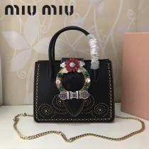MIUMIU 5BA043-4 進口山羊皮搭配頂級小牛皮金屬配件手工鑲嵌施華洛世奇寶石鉚釘大鉆扣手提單肩斜挎包