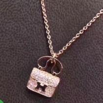 HERMES 飾品-045 喜哥同款經典凱莉原版愛馬仕包包925純銀鍍金鑲鑽玫瑰金項鏈