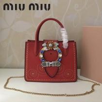 MIUMIU 5BA043-3 進口山羊皮搭配頂級小牛皮金屬配件手工鑲嵌施華洛世奇寶石鉚釘大鉆扣手提單肩斜挎包