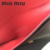 MIUMIU 5ML010-2 里外進口平紋牛皮可拆卸金屬鏈條意大利製造標新款卡包