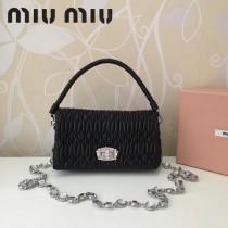 MIUMIU 5BH012-3 原版進口綿羊皮施華洛世奇水晶可拆卸式編織手挽帶鑽石鏈條手提單肩斜挎包