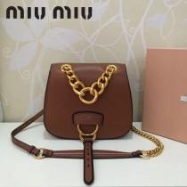 MIUMIU 5BD020-4 原版進口牛皮山羊紋金色五金劉雯同款手提單肩斜挎包