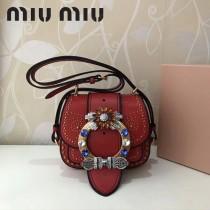 MIUMIU 5BH019 原版頂級牛皮山羊紋手工鑲嵌施華洛世奇寶石Miulady打釘鉆扣款手袋
