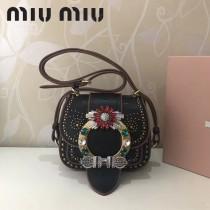 MIUMIU 5BH019-2 原版頂級牛皮山羊紋手工鑲嵌施華洛世奇寶石Miulady打釘鉆扣款手袋