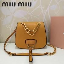 MIUMIU 5BD020-2 原版進口牛皮山羊紋金色五金劉雯同款手提單肩斜挎包