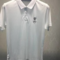 LV-0113-2 定制120全棉絲光珠地領口袖口定制螺紋胸前刺繡閃電logo簡單大方男士T恤
