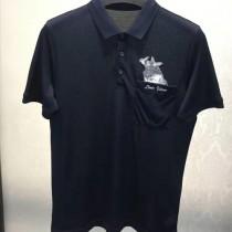 LV-0114-2 定制120全棉絲光珠地領口袖口定制螺紋胸前刺繡犀牛簡單大方男士T恤