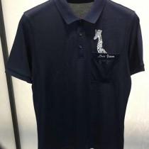 LV-0115 定制120全棉絲光珠地領口袖口定制螺紋胸前刺繡長頸鹿簡單大方男士T恤