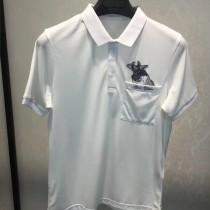 LV-0114 定制120全棉絲光珠地領口袖口定制螺紋胸前刺繡犀牛簡單大方男士T恤