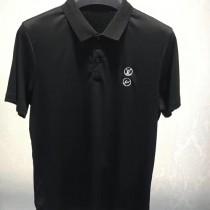 LV-0113 定制120全棉絲光珠地領口袖口定制螺紋胸前刺繡閃電logo簡單大方男士T恤