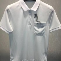 LV-0115-2 定制120全棉絲光珠地領口袖口定制螺紋胸前刺繡長頸鹿簡單大方男士T恤