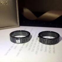 BVLGARI-0003 寶格麗黑陶瓷材質925純銀鑲嵌八心八箭仿真鑽情侶戒指
