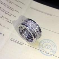 BVLGARI-0006-2 寶格麗B.ZEROI系列鑲嵌進口高碳鉆高端白銅電鍍18K金三環滿鑽戒指