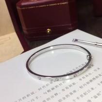 Cartier-00002-2 卡地亞官方最新發佈亞金電鍍18K白金無鑽款螺絲釘窄版LOVE手鐲