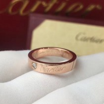 Cartier-00004 卡地亞經典專櫃logo款亞金電鍍18K金玫瑰金字母logo單鉆戒指