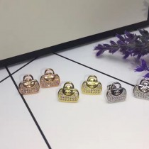 chanel-01001 香奈兒卓越電鍍工藝亞金材質925銀針防過敏滿鑽包包耳釘
