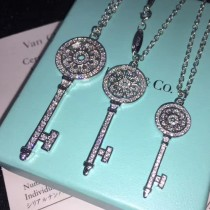 Tiffany & Co-08 經典鑰匙太陽花同款亞金材質電鍍18K真白金高碳鉆歐美同步秋冬款長項鏈毛衣鏈
