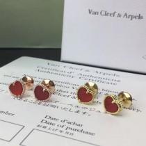 Van Cleef&Arpels-001 亞金電鍍18K玫瑰金黃金925銀針原版飛碟耳堵天然紅瑪瑙桃心耳釘