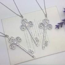 Tiffany & Co-04 Enchant Heart心形劉雯同款歐美同步長款毛衣鏈亞金材質皇冠鑰匙項鏈