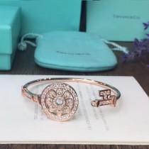 Tiffany & Co-07 新款彈力亞金材質電鍍18K玫瑰金白金高碳鉆太陽花款滿鑽鑰匙手鐲