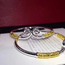 Cartier-0101 卡地亞雙色亞金電鍍18K金工藝緊箍咒Love in life 活口實心戒指手鐲套裝