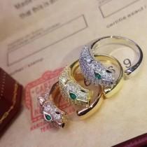 Cartier-0102 卡地亞范冰冰同款亞金電鍍18K金微鑲多粒超閃AAAA鉆豹子滿鑽戒指
