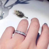 Tiffany & Co-002 蒂芙尼經典925銀鍍18K金高貴優雅雙排鉆情侶婚戒