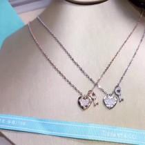 Tiffany & Co-012 新款S925純銀精工版原版1:1Tiffany logo 小清新百搭時尚鑰匙愛心項鏈