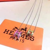 Hermes-00004 愛馬仕S925純銀精工版百搭款紅色黃色H橢圓滴膠項鏈