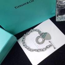 Tiffany & Co-001 蒂芙尼316剛鍍18K金經典之作時尚中性粗鏈前扣桃心手鏈
