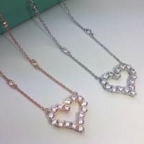 Tiffany & Co-006 亞金電鍍18K金鋯石採用八心八箭切割鏤空新款大號桃心項鏈