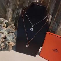 Hermes-00001 愛馬仕進口925純銀材質微鑲高碳鉆各路網紅同款鉑金玫瑰金鎖頭項鏈