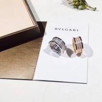 BVLGARI-0104 寶格麗經典爆款925銀鍍18K金螺旋紋滿鑽情侶戒指