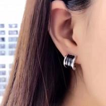 BVLGARI-0101 寶格麗小紅人慈善款S925純銀圓弧版歡樂頌2樊勝美同款黑陶瓷耳釘