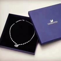 SWAROVSKI-0006 施華洛世奇水晶新款滿鑽925純銀鍍18K金高碳鉆羽毛鵝馬眼項鏈