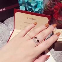Cartier-0106 卡地亞經典大方款925純銀電鍍18K金白金玫瑰金LOVE新款二合一螺絲釘雙環交叉戒指