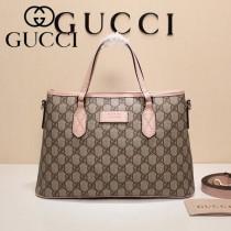 GUCCI 429019-5 爆款PVC配粉色原版牛皮手提單肩包購物袋