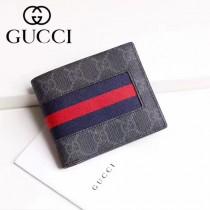 GUCCI 408826 男士經典款紅藍織帶PVC配原版牛皮短款兩折錢包