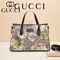 GUCCI 429019-3 爆款天竺葵系列PVC配黑色原版牛皮手提單肩包購物袋