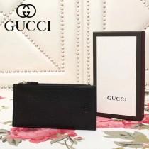 GUCCI 203036-3 專櫃新款輕便黑色原版皮兩折長款卡片包錢包