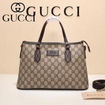GUCCI 429019-6 爆款PVC配咖啡色原版牛皮手提單肩包購物袋