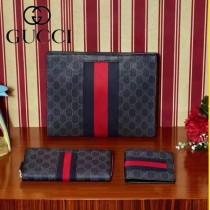 GUCCI 408831-2 商務之選紅藍織帶PVC配牛皮長款拉鏈錢包