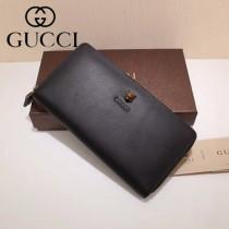 GUCCI 428731-2 專櫃新品虎頭裝飾黑色原版牛皮長款拉鏈錢包