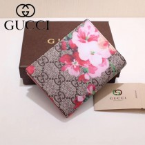 GUCCI 424896-6 輕便小巧天竺葵PVC配進口牛皮短款兩折零錢包