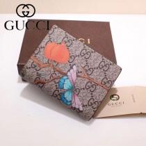 GUCCI 424896-3 輕便小巧花鳥圖案PVC配進口牛皮短款兩折零錢包
