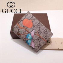 GUCCI 424896-4 輕便小巧花鳥圖案PVC配進口牛皮短款兩折零錢包