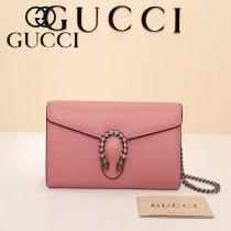 GUCCI 401231-5 專櫃新款粉色牛皮虎頭鉆扣單肩斜挎包
